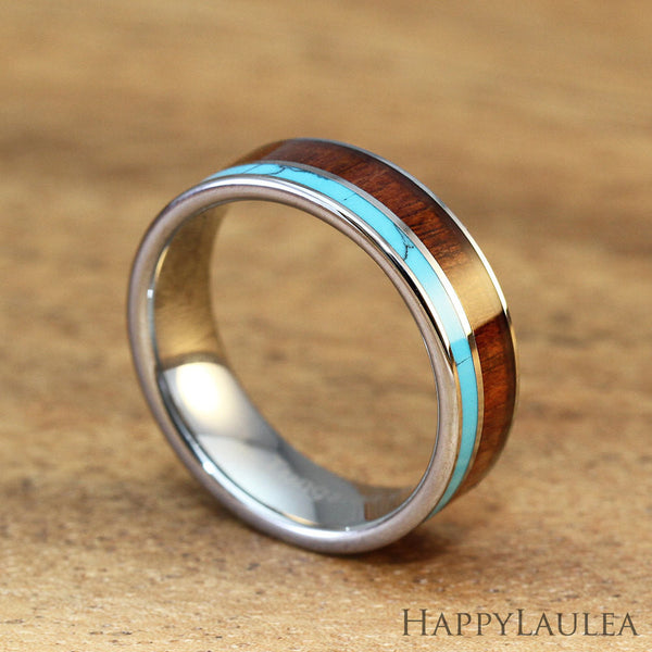 Tungsten Carbide Ring with Koa Wood & Turquoise Inlay