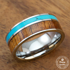 Tungsten Carbide Ring with Koa Wood and Turquoise Inlay