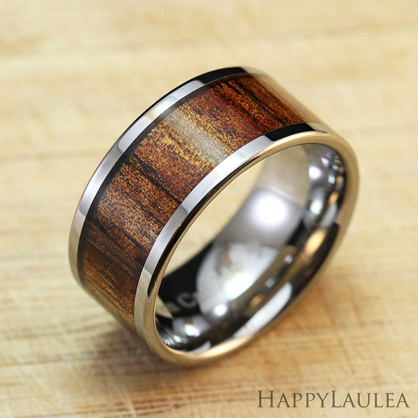 Tungsten Carbide Ring with Koa Wood Inlay, 10mm, Flat Shape, Comfort Fitment