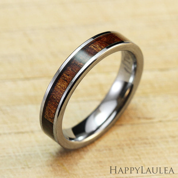 Tungsten Carbide Ring with Koa Wood Inlay, 4mm, Flat Shape, Comfort Fitment