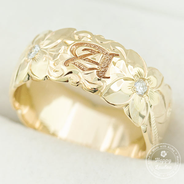 14K Gold Personalized Initial Hawaiian Jewelry Ring with Diamonds / 8mm / Dome Shape