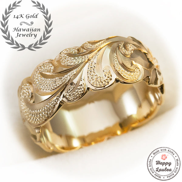 14k Gold Ring Hand Engraved Scroll Pattern with Wave Edges 8mm Dome