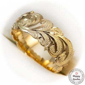 14k Gold Hawaiian Jewelry Ring Hand Engraved Scroll Pattern with Wave Edges - 8mm, Dome Shape, Standard Fitment
