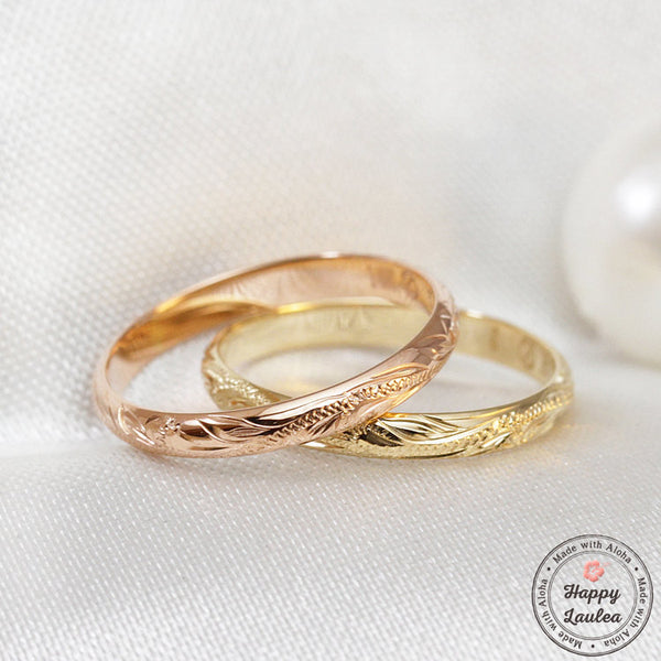14K Gold 2mm Ring with Hawaiian Hand Engraved Floral Design - Dome Shape, Standard Fitment