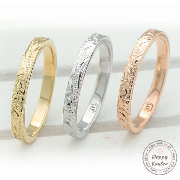 14K Gold 2.5MM Hawaiian Jewelry Hand Engraved Ring - Flat Shape, Standard Fitment