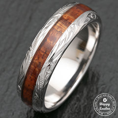 14K White Gold Hawaiian Jewelry 8mm Width Ring Koa Wood Inlay
