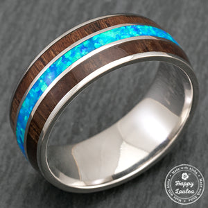 14K White Gold or Platinum Ring with Hawaiian Koa Wood & Blue Opal Tri-Inlay - 8mm, Dome Shape, Comfort Fitment
