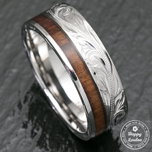 14k White Gold Hawaiian Jewelry Ring With Offset Koa Wood