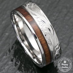 14K White Gold Hawaiian Jewelry Ring with Offset Koa Wood Inlay - 8mm, Flat Shape, Standard Fitment
