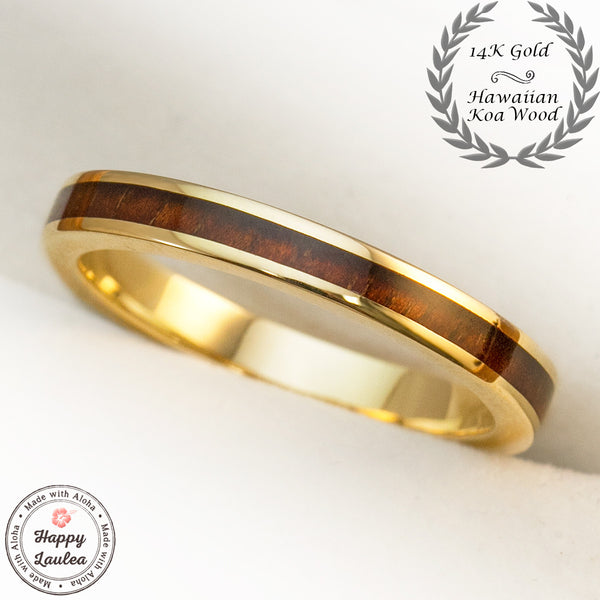 14K Gold Ring with Koa Wood Inlay - 3mm, Flat Shape, Standard Fitment