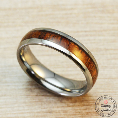 Tungsten Carbide Ring with Koa Wood Inlay, 6mm, Dome Shape, Comfort Fitment