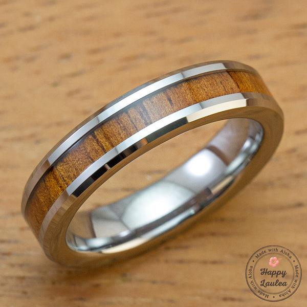 Tungsten Carbide Beveled Edge Ring with Koa Wood Inlay, 5mm, Flat Shape, Comfort Fitment