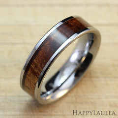 Tungsten Carbide Ring with Koa Wood Inlay, 6mm, Flat Shape, Comfort Fitment