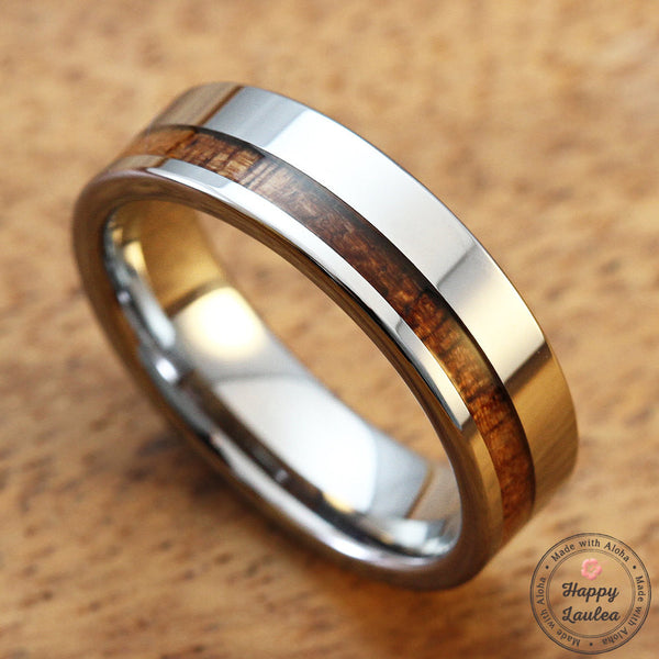 Tungsten Carbide Ring with Offset Koa Wood Inlay, 6mm, Flat Shape, Comfort Fitment