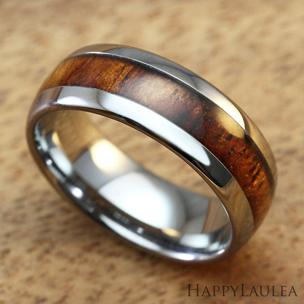 Tungsten Carbide Ring with Koa Wood Inlay, 8mm, Dome Shape, Comfort Fitment