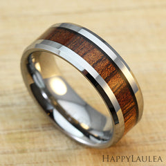 Tungsten Carbide Beveled Edge Ring with Koa Wood Inlay, 8mm, Flat Shape, Comfort Fitment