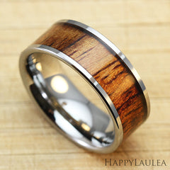 Tungsten Carbide Ring with Koa Wood Inlay - 8mm, Flat Shape, Comfort Fitment
