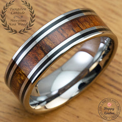 Tungsten Carbide Black Enamel Ring with Koa Wood Inlay - 8mm, Flat Shape, Comfort Fitment
