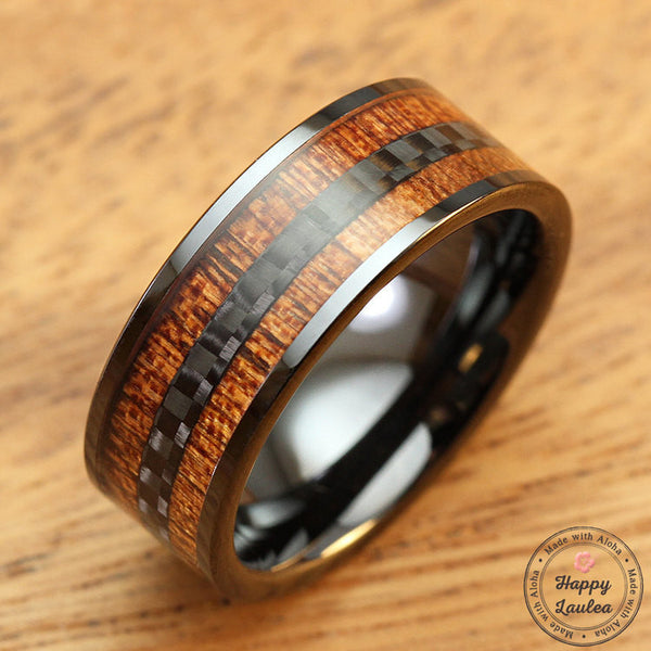 HI-TECH Black Ceramic Ring with Mid Carbon Fiber and Koa Wood Inlay - 8mm, Flat Shape, Comfort Fitment