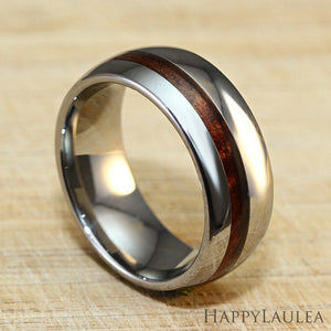 Tungsten Carbide Ring with Offset Koa Wood Inlay, 8mm, Dome Shape, Comfort Fitment