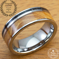 Tungsten Carbide Ring with Olive and Ebony Wood Inlay