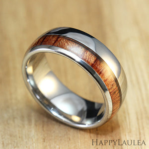 Tungsten Carbide Ring with Thick Offset Koa Wood Inlay, 8mm, Dome Shape, Comfort Fitment