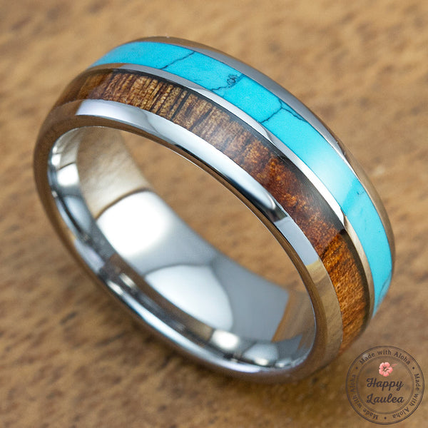 Tungsten Carbide 8mm Ring with Turquoise and Hawaiian Koa Wood Inlay, Comfort Fitment, Barrel Style