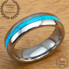 Tungsten Carbide Wedding Band with Turquoise Inlay