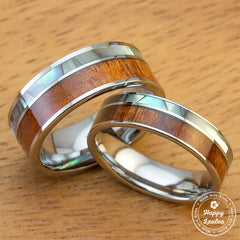 Pair of Tungsten Carbide Couple/Wedding Ring Set with Abalone Shell & Koa Wood Offset-Inlay, 6&8mm width, Flat Shape, Comfort Fit