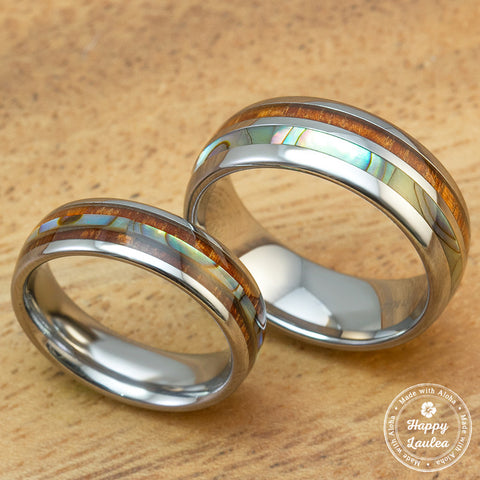 Pair of Tungsten Carbide Assorted Couple/Wedding Ring Set with Abalone Shell & Koa Wood Inlay - 6 & 8mm, Dome Shape, Comfort Fitment