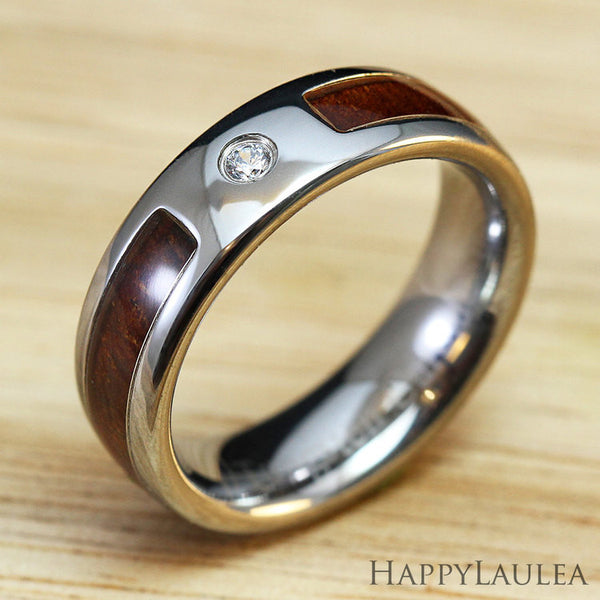Tungsten Carbide Cubic Zirconia Ring with Hawaiian Koa Wood Inlay - 6mm, Dome Shape, Comfort Fitment