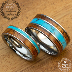 Pair of Assorted Tungsten Carbide Ring Set with Hawaiian Koa Wood and Turquoise Inlay - 6&10mm, Flat Shape, Comfort Fitment