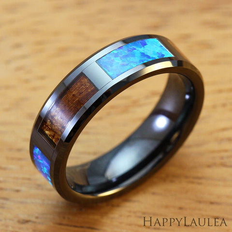 HI-TECH Black Ceramic Beveled Ring with Koa Wood and Opal Inlay - 6mm, Flat Shape, Comfort Fitment