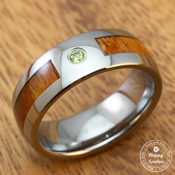 Tungsten Carbide with Peridot Stone Setting Inlaid with Hawaiian Koa Wood