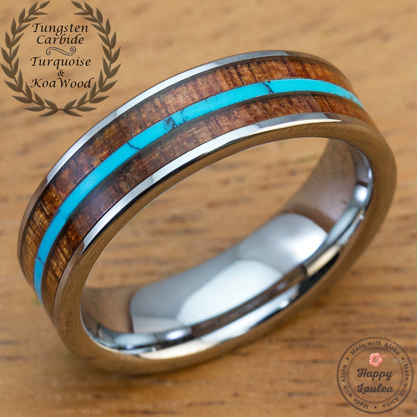 Tungsten Carbide Wedding Ring with Mid Thin Strip Turquoise and Hawaiian Koa Wood Inlay