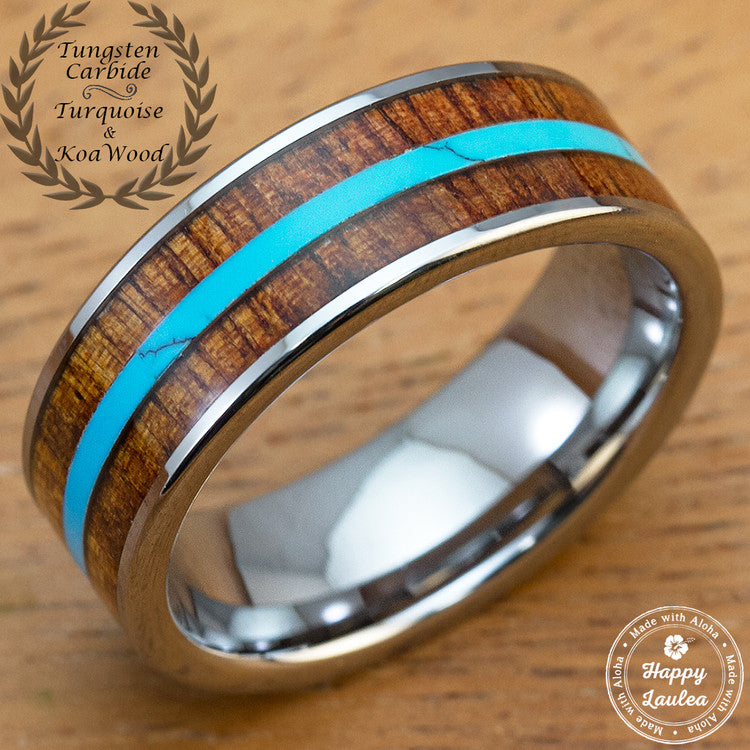 Tungsten Carbide Wedding Ring with Mid Strip Turquoise and Hawaiian Koa Wood Inlay - 8mm, Flat Shape, Comfort Fitment