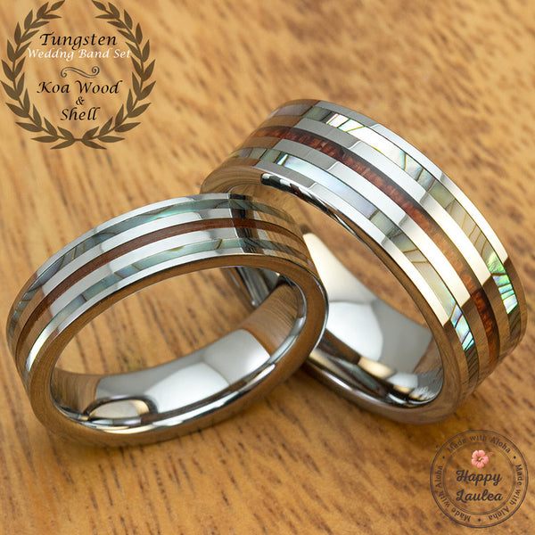 Pair of Tungsten Couple/Wedding Band Set with Abalone Shell & Koa Wood Tri-Inlay, 6&8mm, Flat Shape Comfort Fitment