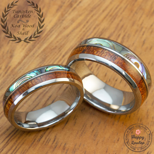 Pair of Tungsten Couple/Wedding Band Set with Abalone Shell &  Koa Wood Duo-Inlay - 6&8mm, Dome Shape, Comfort Fitment