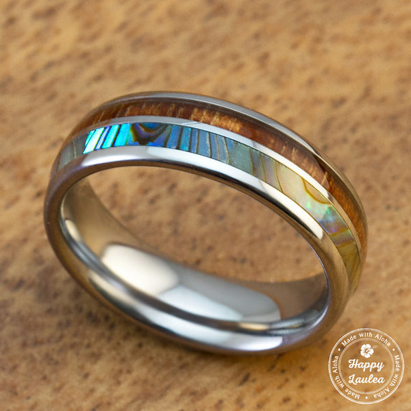 Tungsten Wedding Ring with Abalone Shell and Koa Wood Duo Inlay - 6mm, Dome Shape, Comfort Fitment