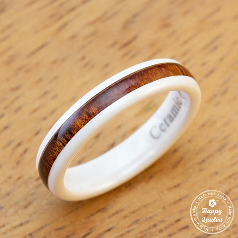 HI-TECH White Ceramic Ring with Hawaiian Koa Wood Inlay - 4mm, Dome Shape, Comfort Fitment