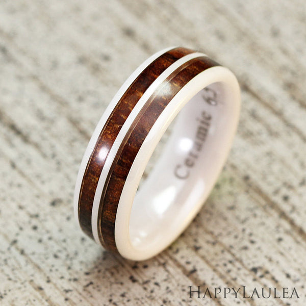 HI-TECH White Ceramic Ring with Koa Wood Duo Inlay - 6mm, Dome Shape, Comfort Fitment