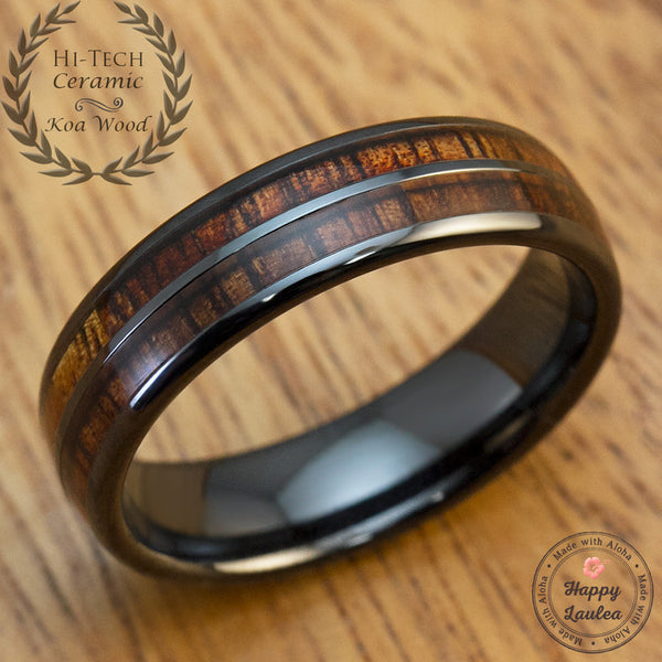 HI-TECH Black Ceramic Ring with Koa Wood Duo Inlay - 6mm, Dome Shape, Comfort Fitment