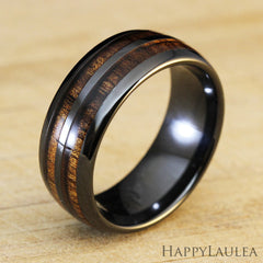 HI-TECH Black Ceramic Ring with Koa Wood Duo Inlay - 8mm, Dome Shape, Comfort Fitment