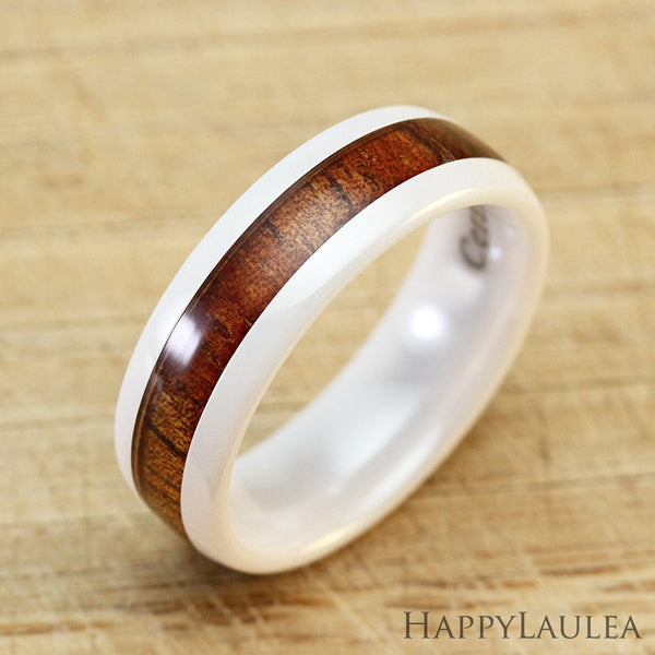 HI-TECH White Ceramic Ring with Koa Wood Inlay - 6mm, Dome Shape, Comfort Fitment