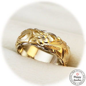 14K Gold Two Tone Ring with Hawaiian Hand Engraved Heritage Design - 8x6mm, Dome shape, Standard Fitment