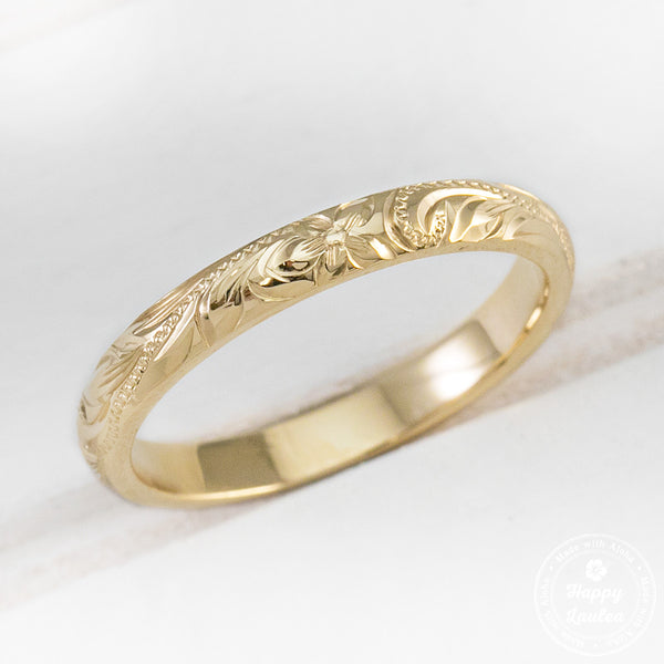14K Gold Hang Engraved 2.5mm Ring with Old English Design - Dome Shape, Standard Fitment