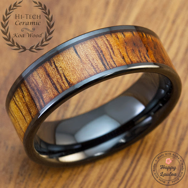 HI-TECH Black Ceramic Ring with Koa Wood Inlay - 8mm, Flat Shape, Comfort Fitment