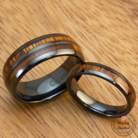 HI-TECH Black Ceramic Assorted Ring Set with Hawaiian Koa Wood Inlay - 4&8mm, Dome Shape, Comfort Fitment