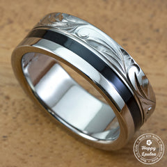 Black Ebony Titanium Hand Engraved Scroll Pattern - 10mm, Flat Shape, Standard Fitment