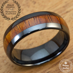 HI-TECH Black Ceramic Ring with Hawaiian Koa Wood Inlay - 8mm, Dome Shape, Comfort Fitment